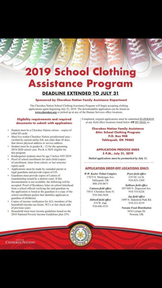 2019 clothing assistance