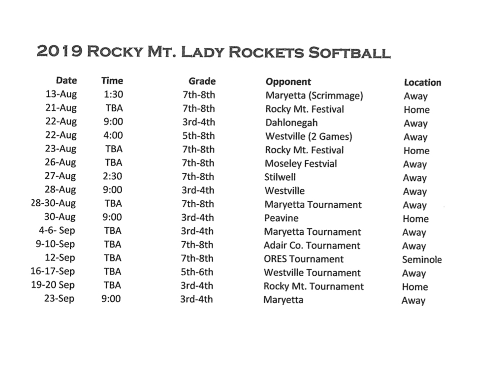 Softball schedule