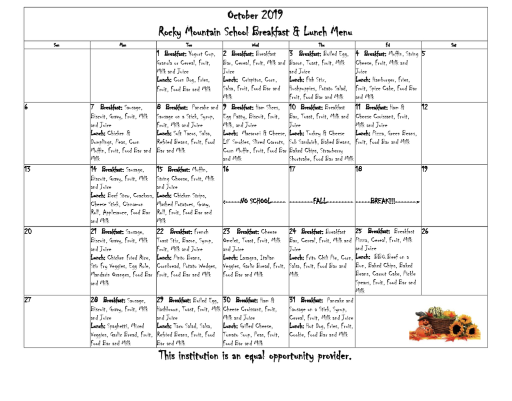 October lunch menu